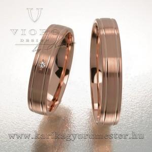 Egyköves rozéarany karikagyűrű pár 409/R