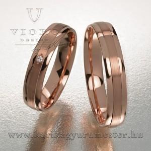 Egyköves rozéarany karikagyűrű pár 410/R