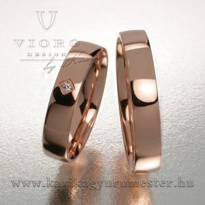 Egyköves rozéarany karikagyűrű pár 414/R