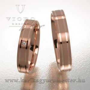 Egyköves rozéarany karikagyűrű pár 417/R