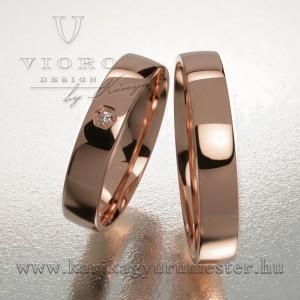 Egyköves rozéarany karikagyűrű pár 419/R