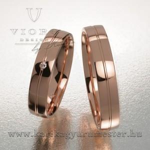 Egyköves rozéarany karikagyűrű pár 422/R