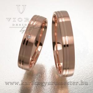 Egyköves rozéarany karikagyűrű pár 424/R