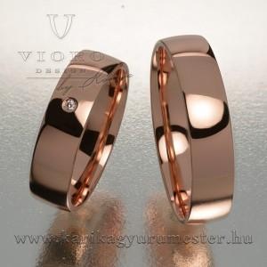 Egyköves rozéarany karikagyűrű pár 502/R