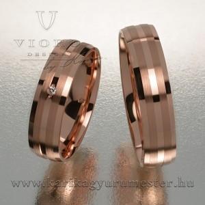 Egyköves rozéarany karikagyűrű pár 503/R