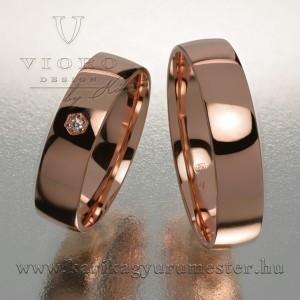 Egyköves rozéarany karikagyűrű pár 506/R