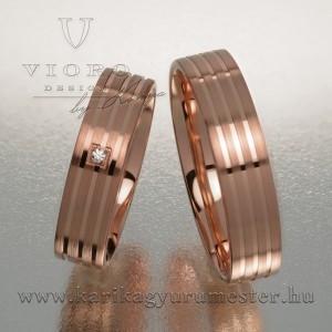 Egyköves rozéarany karikagyűrű pár 508/R