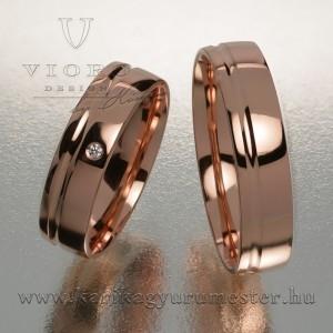 Egyköves rozéarany karikagyűrű pár 516/R