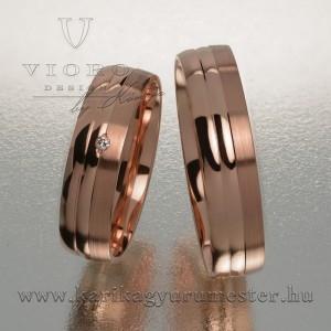 Egyköves rozéarany karikagyűrű pár 519/R