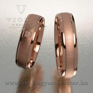Egyköves rozéarany karikagyűrű pár 520/R
