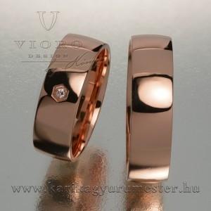 Egyköves rozéarany karikagyűrű pár 605/R