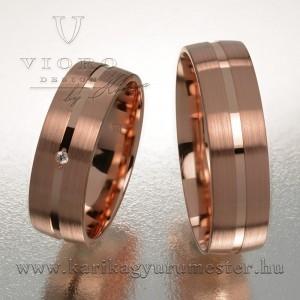 Egyköves rozéarany karikagyűrű pár 609/R