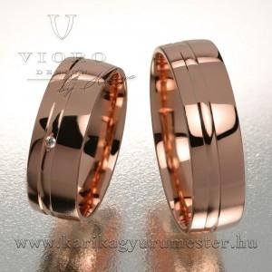 Egyköves rozéarany karikagyűrű pár 618/R