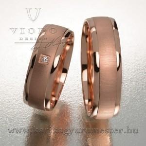 Egyköves rozéarany karikagyűrű pár 621/R