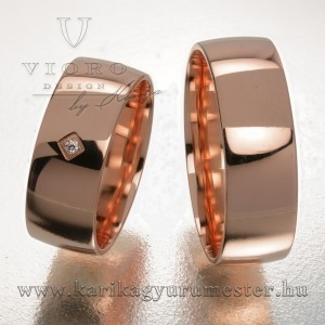 Egyköves rozéarany karikagyűrű pár 708/R