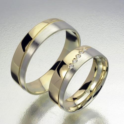 Ötköves sárga-fehérarany karikagyűrű pár 605/SF